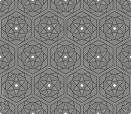 Wall Murals Psychedelic Seamless black geometric pattern