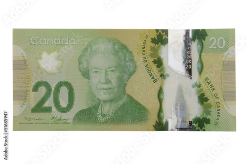 Fototapeta New 20 canadian dollar bill