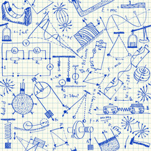 Physics Doodles Seamless Pattern