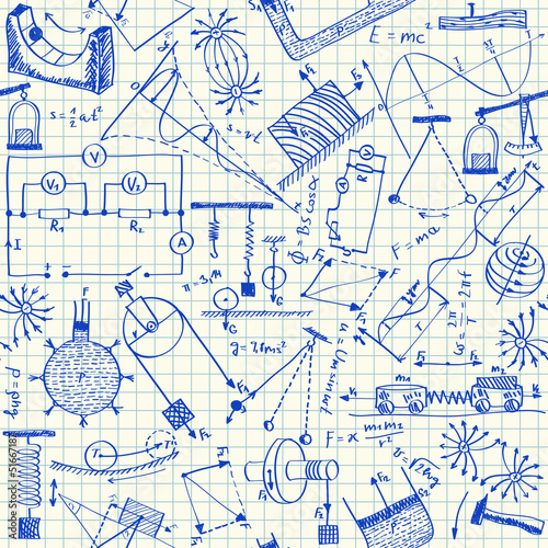 Fotografie, Obraz  Physics doodles seamless pattern