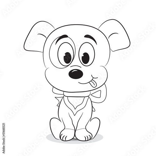 Spoed Foto op Canvas Doe het zelf Outlined cute cartoon dog. Vector illustration
