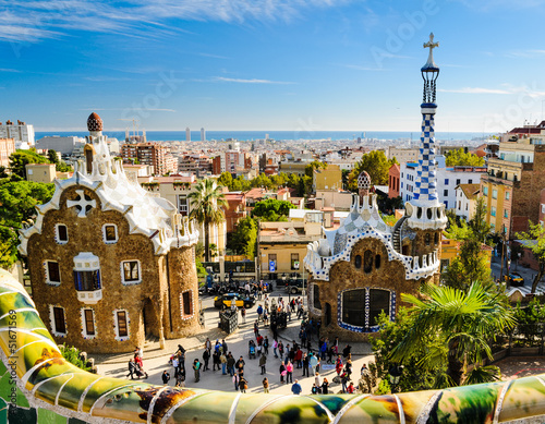 Papiers peints Barcelona Park Guell in Barcelona, Spain