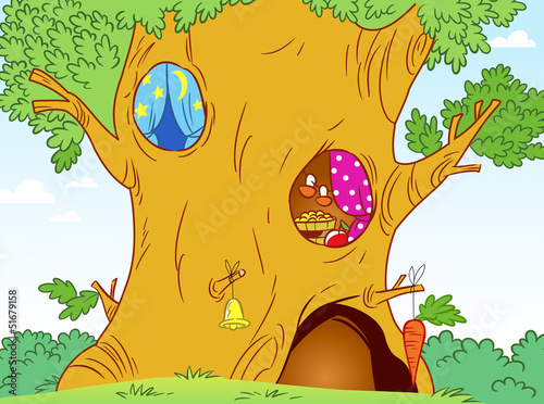 Door stickers Magic world large oak tree
