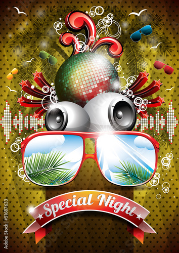 Vector Summer Beach Party Flyer Design with disco ball - 51687633