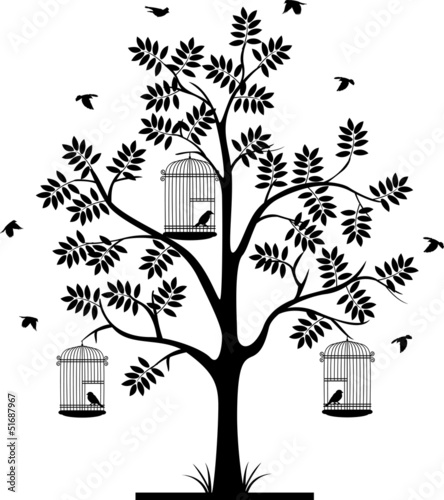 Acrylic Prints Birds in cages tree silhouette and flying bird's in the cage
