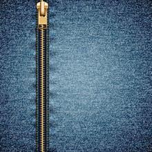 Denim Texture With Closed Zipper