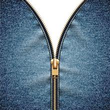 Denim Texture With Open Zipper