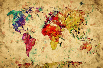 Fototapeta Vintage world map. Colorful paint, watercolor on grunge paper