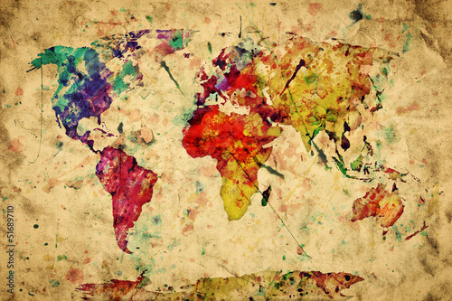 Vintage world map. Colorful paint, watercolor on grunge paper Canvas Print