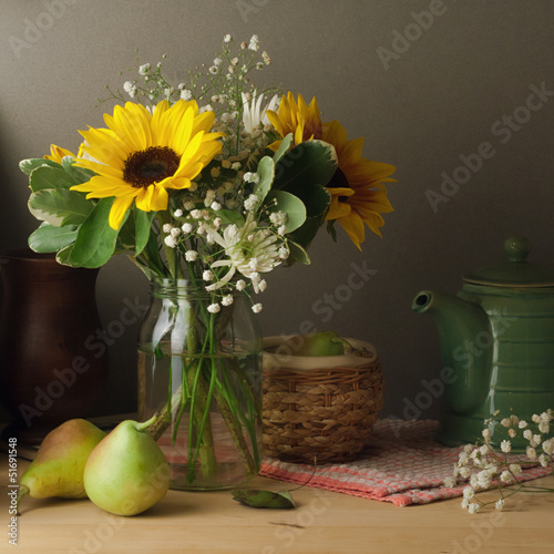 Still life with sunflower bouquet on wooden table - 51691548