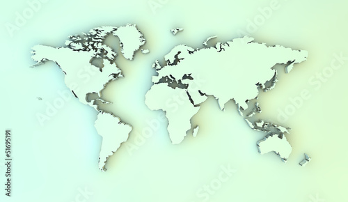 Autocollant pour porte Carte du monde world 3d map