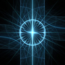 Fractal Flame Background. Blue Spiral Cross On Black.
