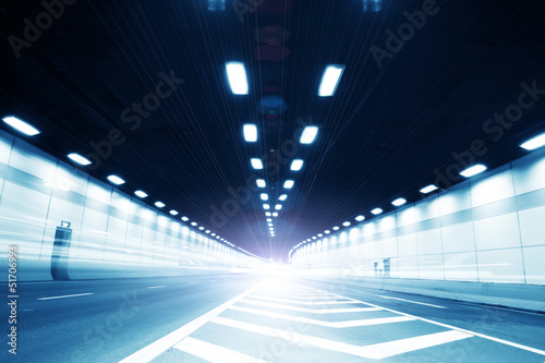 Papiers peints Tunnel Abstract speed motion in urban highway road tunnel
