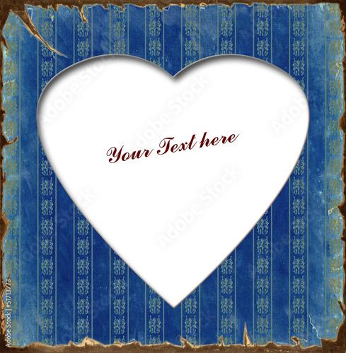 Foto op Plexiglas Vintage Poster Weisses Herz - Blauer Hintergrund