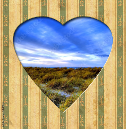 Photo sur Toile Affiche vintage Vintage Heart - Strand