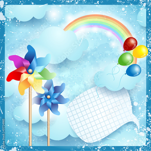 In de dag Regenboog Spring background with copyspace