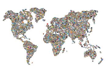 Fototapeta Carte du monde photos, fond blanc
