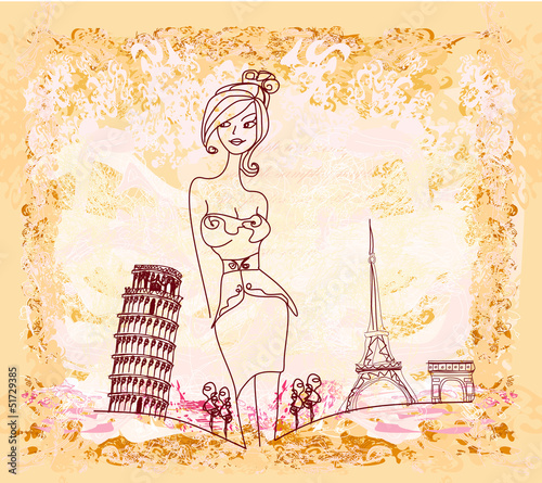 Door stickers Doodle beautiful women Shopping in France and Italy