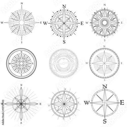 Set illustration of artistic compass. Canvas Print