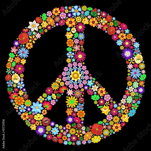 Aluminium Prints Draw Peace Symbol Groovy Flowers Design-Pace Simbolo Floreale