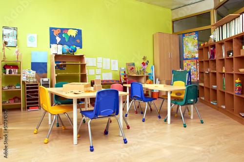 Fotografie, Tablou  Kindergarten Preschool Classroom Interior