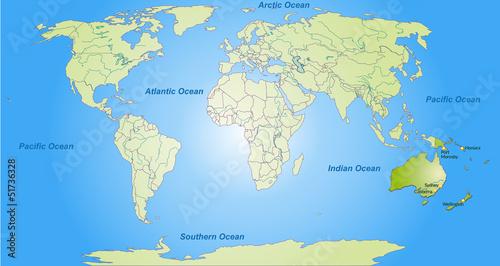 Staande foto Wereldkaart Karte von Australien/Ozeanien und der Welt