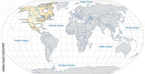 Landkarte von Nordamerika und der Welt