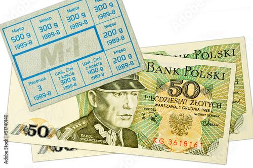 Polskie stare banknoty i kartka żywnościowa Fototapeta