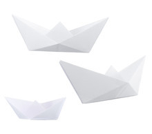 Three Paper Boats Isolated Ove...