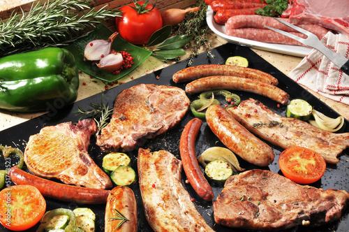 barbecue porc merguez et saucisses 3 Canvas Print