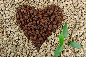 fototapeta zielone i brązowe ziarna kawy z liśćmi