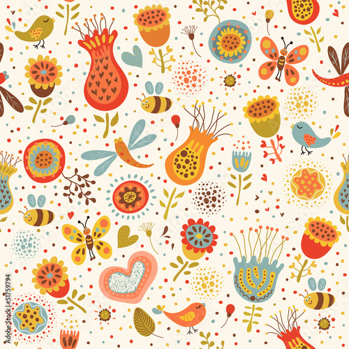 Cotton fabric Cute seamless hand-drawn floral pattern.