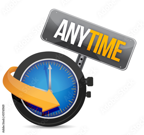 anytime icon with clock Wallpaper Mural