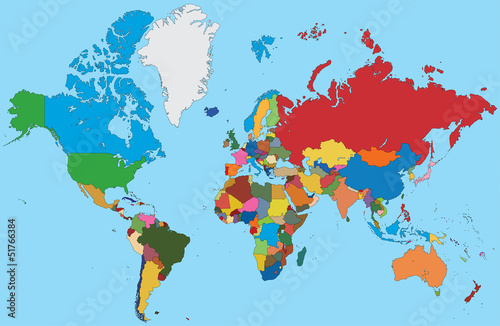 Foto op Canvas Wereldkaart Colorful map of World