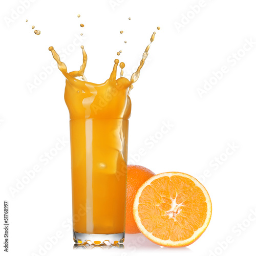 Poster Splashing water splash of juice in the glass with orange isolated on white