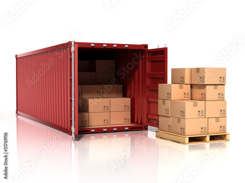 open container with cardboard boxes Canvas Print