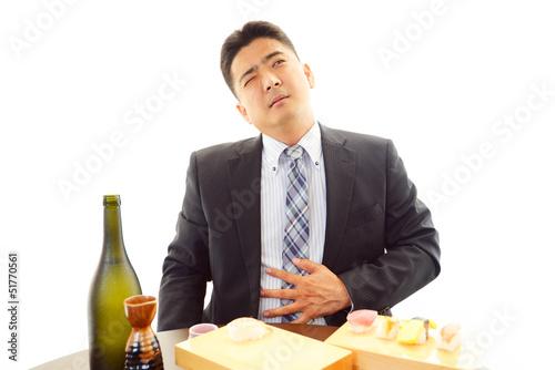 食べすぎたビジネスマン Tablou Canvas