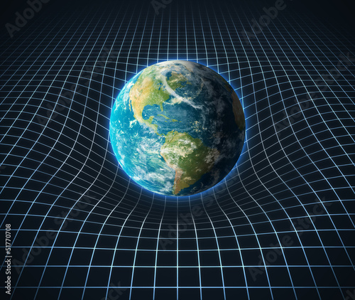 Tablou Canvas earth's gravity bends space around it