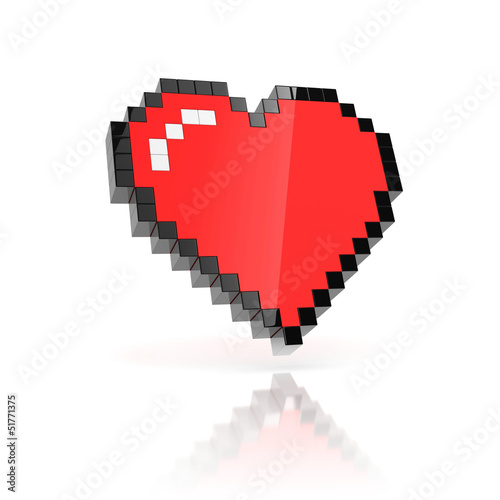 Foto op Aluminium Pixel pixelated heart 3d icon