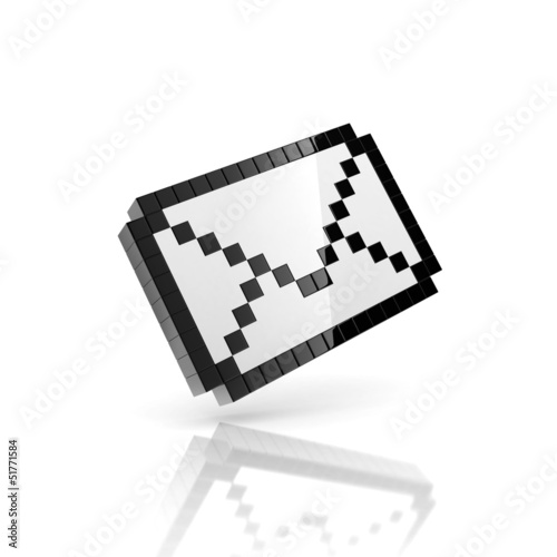 Photo sur Toile Pixel e-mail 3d icon - pixelated envelope