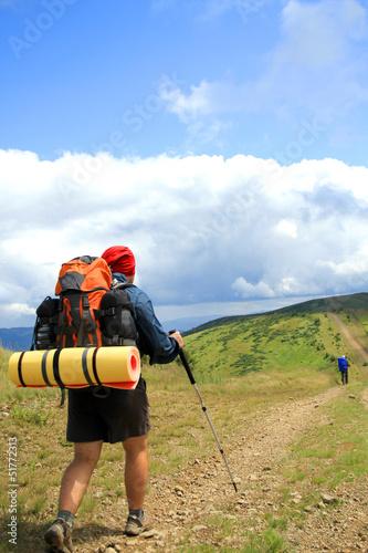 Fototapeta Summer hiking in the mountains. obraz na płótnie