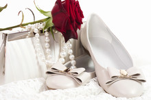 White Shoes And Bag With Pearls Beads And Rose