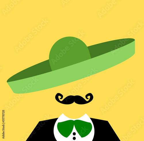 Fotografie, Obraz  mariachi musician with green sombrero