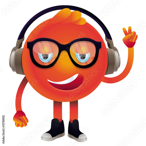 Poster de jardin Creatures Vector funny monster with headphones and glasses