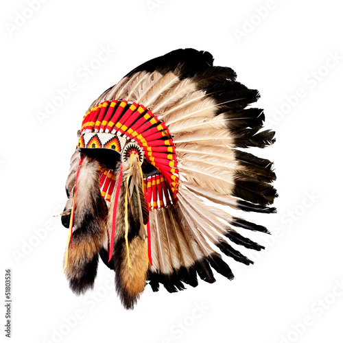 In de dag Indiërs native american indian chief headdress (indian chief mascot, ind