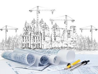 sketching of modern building construction and plan document fore