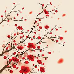 FototapetaOriental style painting, plum blossom in spring