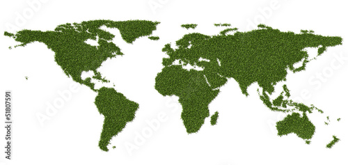 Foto op Canvas Wereldkaart world map made of grass