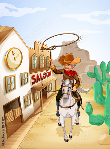 Aluminium Prints Wild West A man with a rope riding in a horse