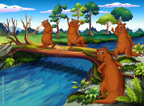 Canvas Prints River, lake Four wild animals at the riverside